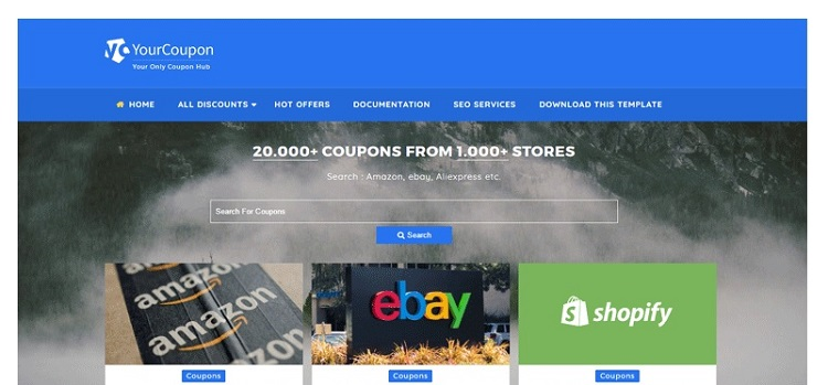 Your Coupon Site Template for Blogger - Full Width Blogger Template