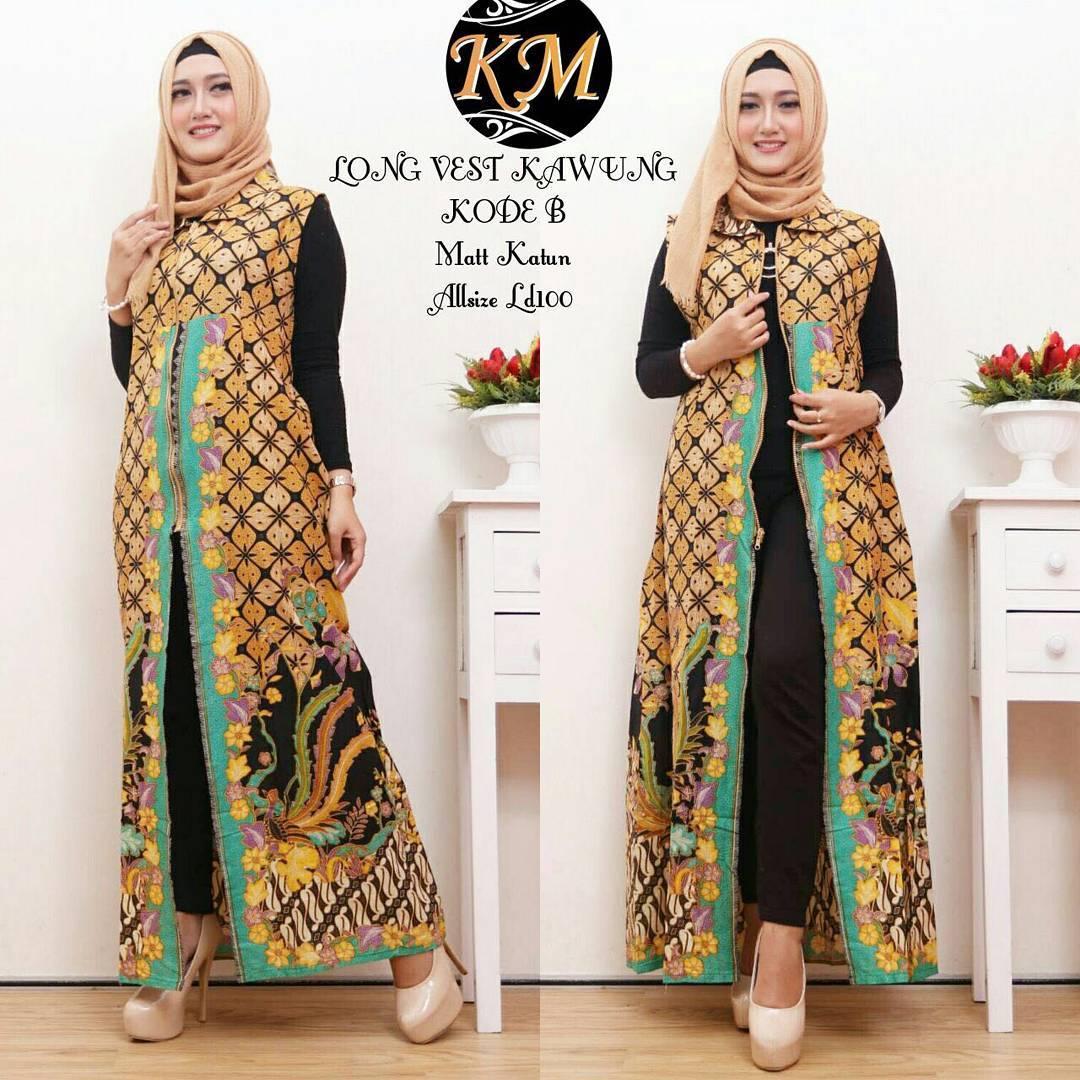 Contoh Baju Batik Wanita Modern Model Dress Batik Terbaru 10