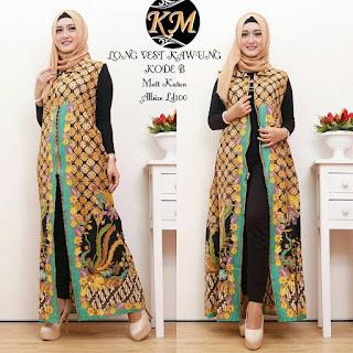Busana Baju Batik Muslim Terbaru Long Vest Motif Kawung warna Hijau