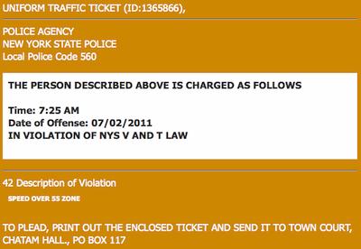 Orange Crate Art: Fake speeding ticket