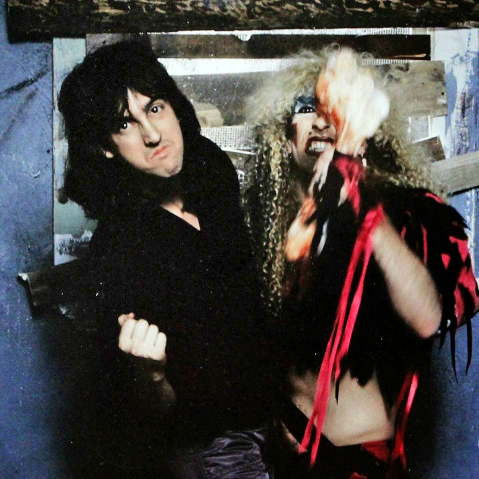 "Mark Weiss and Dee Snider on the set while shooting the cover for Twisted Sister's ""Stay Hungry"" album!!"
