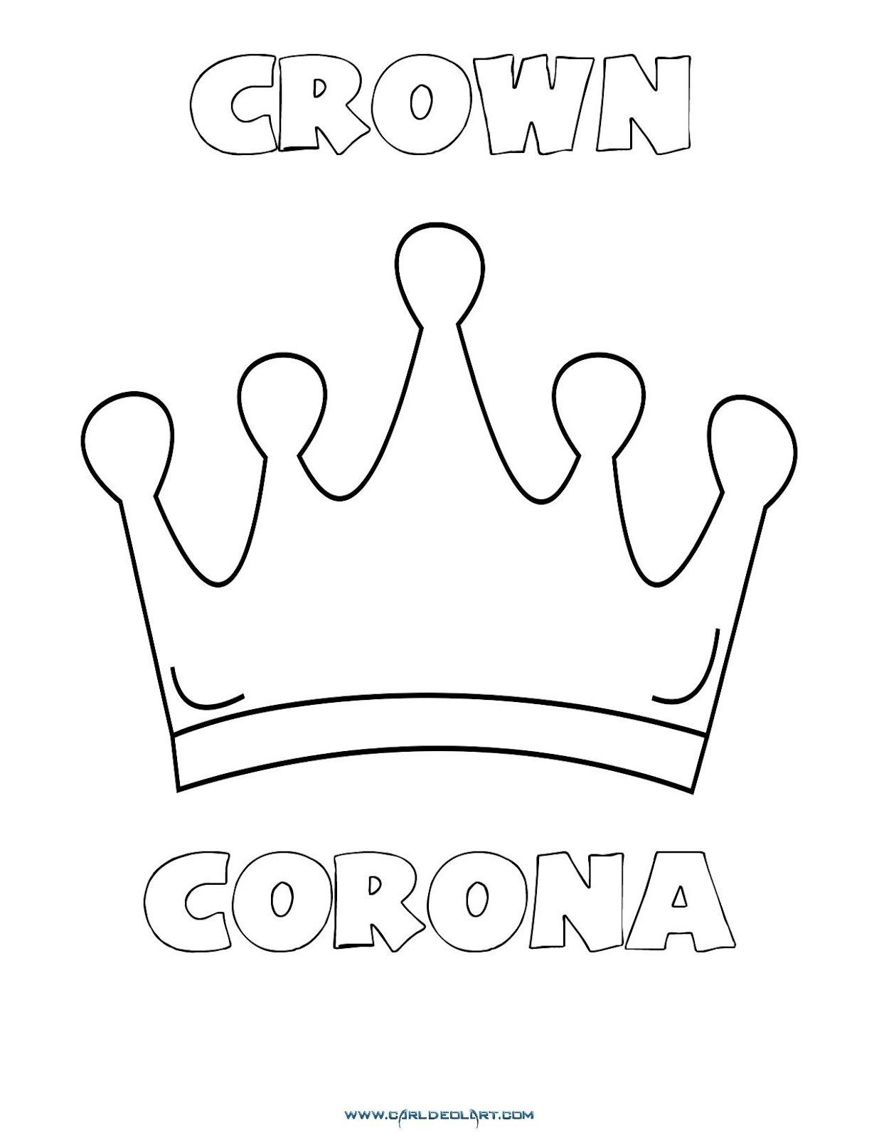 Dibujos Inglés Español Con C Corona Crown Dibujospacolorear