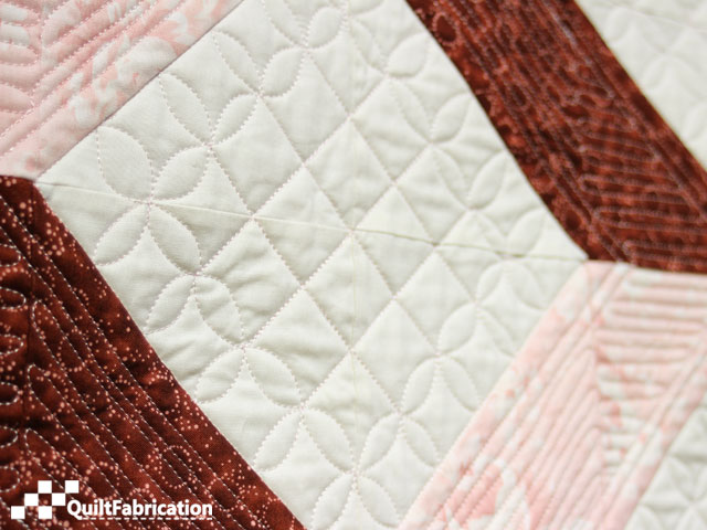 Jess, side view of quilted center square