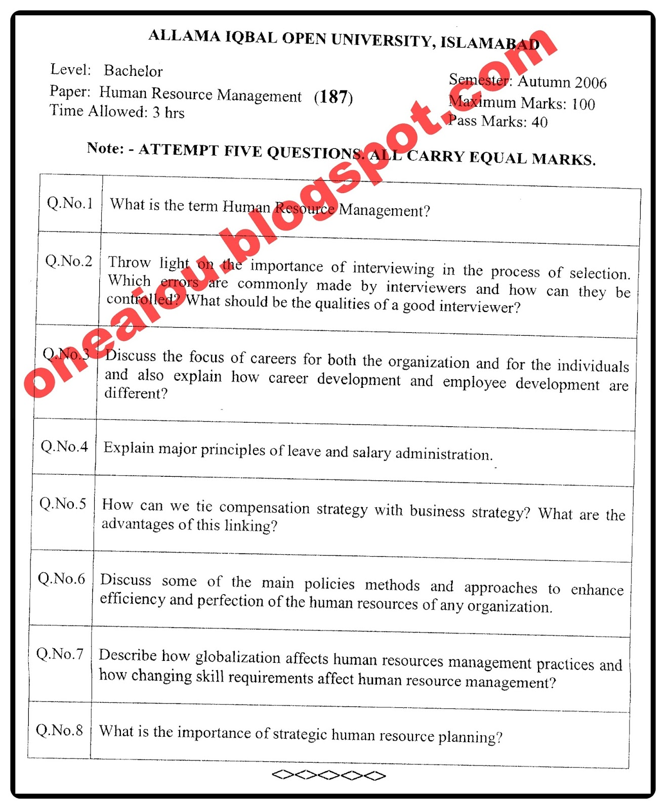 Allama Iqbal Open University Islamabad - aiou pk: AIOU B A