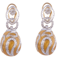 1.Diamond earrings in 14kt having weight 22.420gms with yellow enamel @136650)