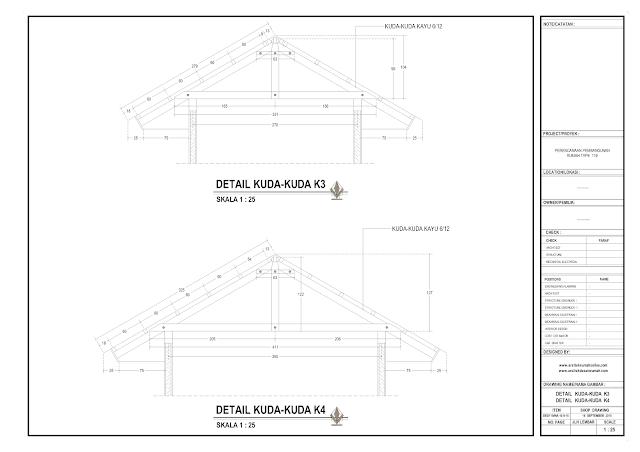 Detail Kuda-Kuda K3 dan K4 Rumah Lantai 1