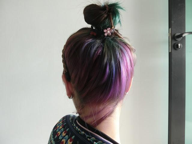 Green purple hair