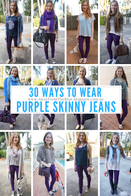 30 ways to wear purple skinny jeans | awayfromtheblue blog