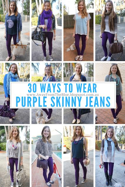 30 ways to wear purple skinny jeans | awayfromtheblue blog