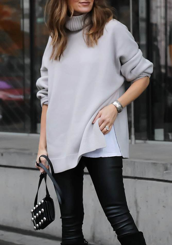 awesome fall outfit / grey oversized sweater + bag + leather pants + boots
