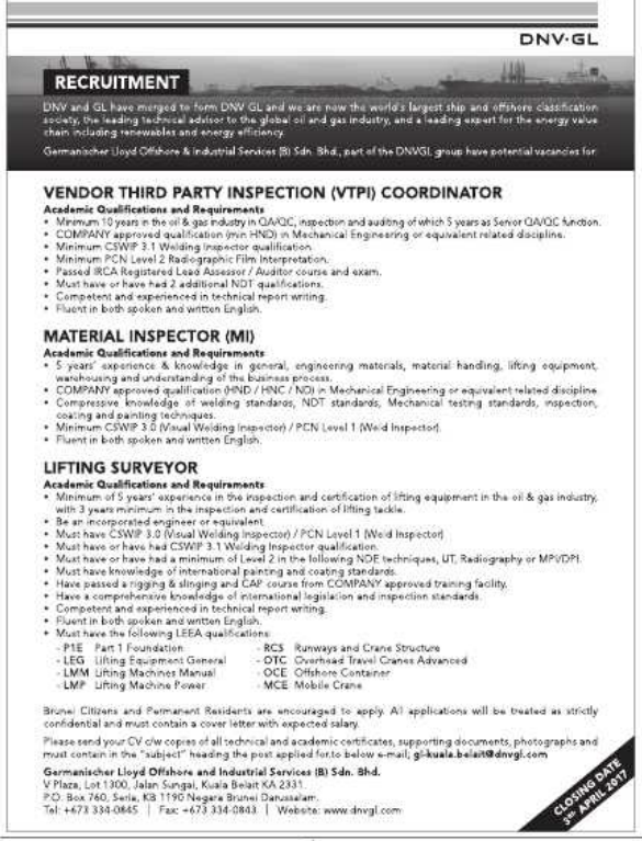 Oil Amp Gas Vacancies Vacancies Dnv Gl Brunei