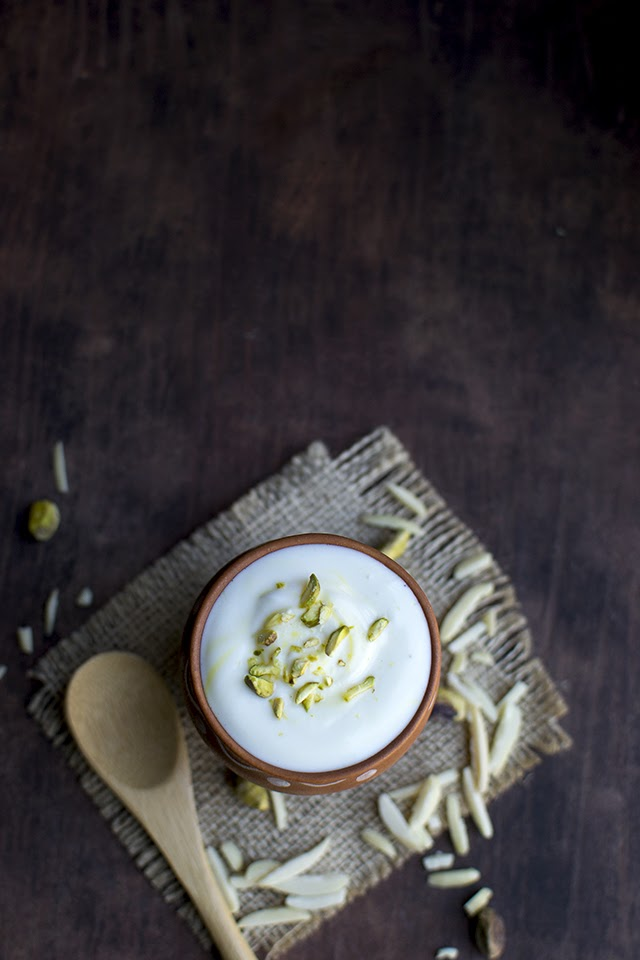 Saffron flavored Sweetened Yogurt