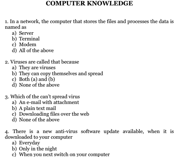 Computer Aptitude Questions Answers Pdf