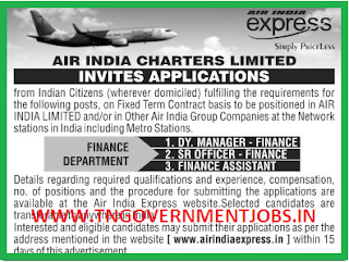 Applications are invited for Finance Department Postings in Air India Express