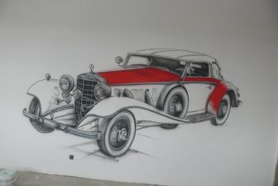 Malowanie na ścianie samochodu w pokoju młodzieżowym, mural 3D, pomysł na pokój młodzieżowy