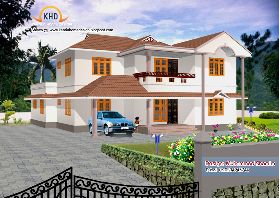 5 beautiful home elevation designs in 3d kerala home for Kerala 3d home floor plans