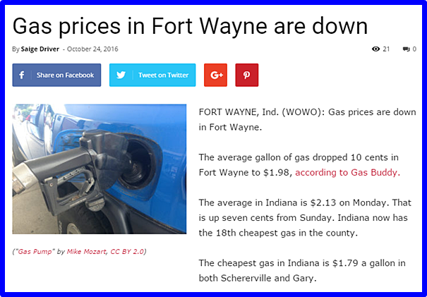 Fort Wayne Gas Prices >> Fort Wayne Media Maven October 2016