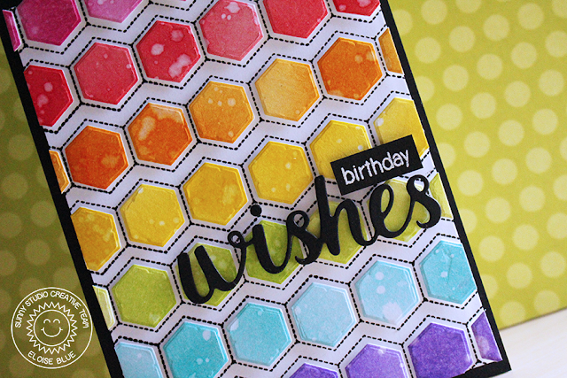 Sunny Studio Stamps: Quilted Hexagons Rainbow Birthday Card by Eloise Blue