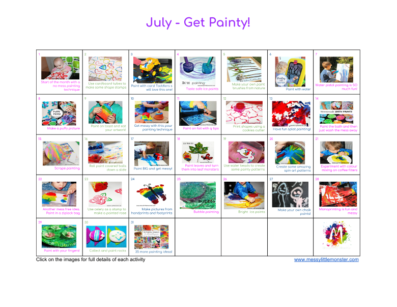 Painting Ideas Activity Calendar – fun kids painting techniques