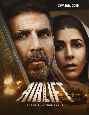 Poster Of Airlift 2016 Hindi 350MB DVDRip 480p ESubs Free Download Watch Online