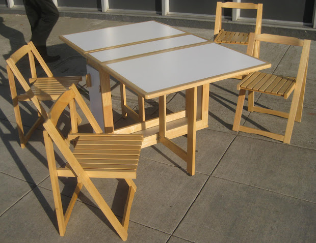 Drop Leaf Table with Folding Chairs