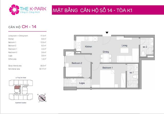 Thiết kế căn hộ 14 - Dt 58m2 - 02 phòng ngủ