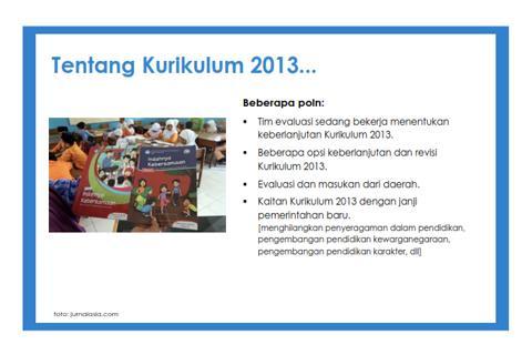 Kemendikbud Lakukan Evaluasi Implementasi Kurikulum 2013