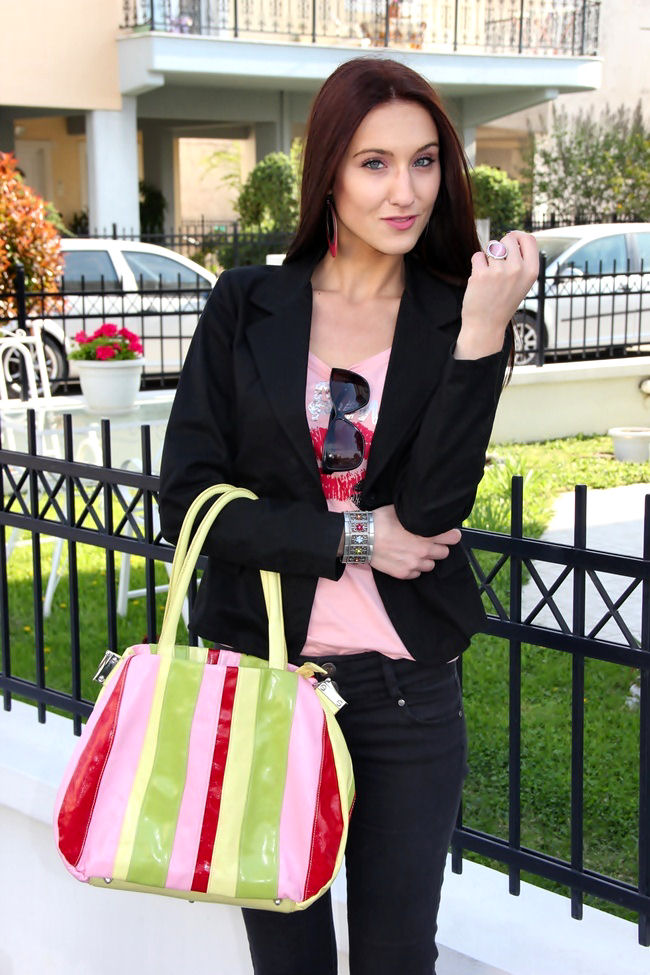 how to add some color to your total black spring looks