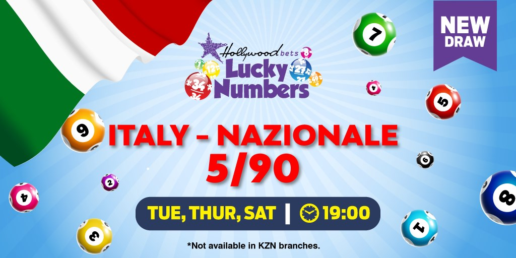 Italy - Nazionale 5/90 Lotto - Lucky Numbers - Hollywoodbets