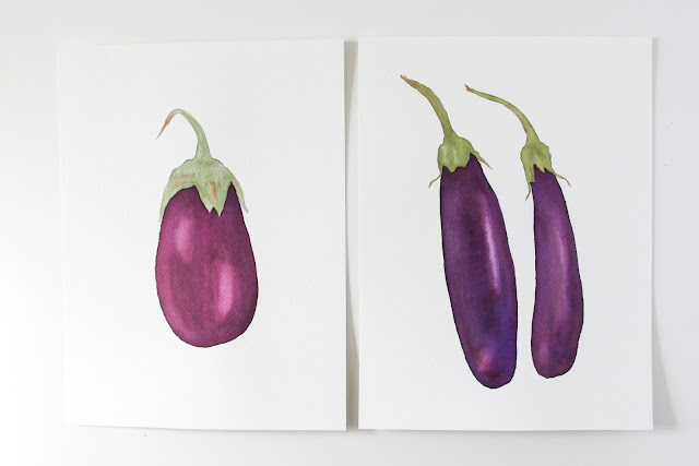 watercolor eggplants, watercolor vegetables, painted eggplants, painted vegetables, Anne Butera, My Giant Strawberry