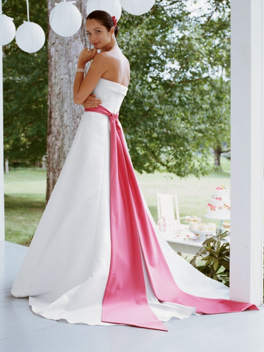 White Wedding Dresses With Hot Pink Accents 101