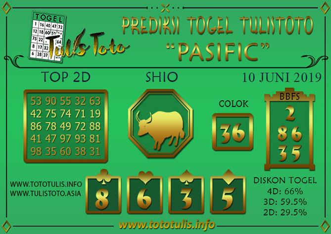 Prediksi Togel PASIFIC TULISTOTO 10 JUNI 2019