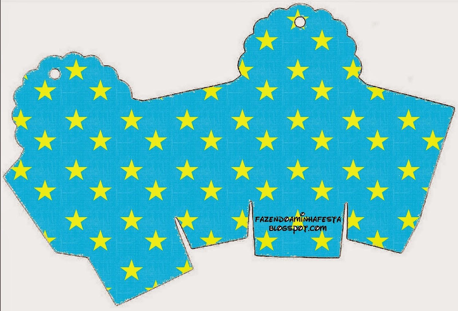 Caja para cupcakes, chocoltes o golosinas de Estrellas sobre Fondo Celeste