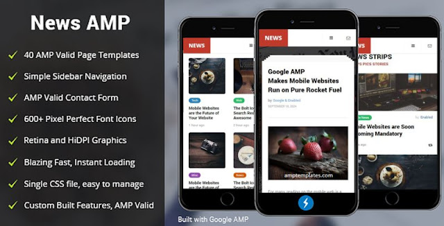 AMP News Mobile HTML Website Templates