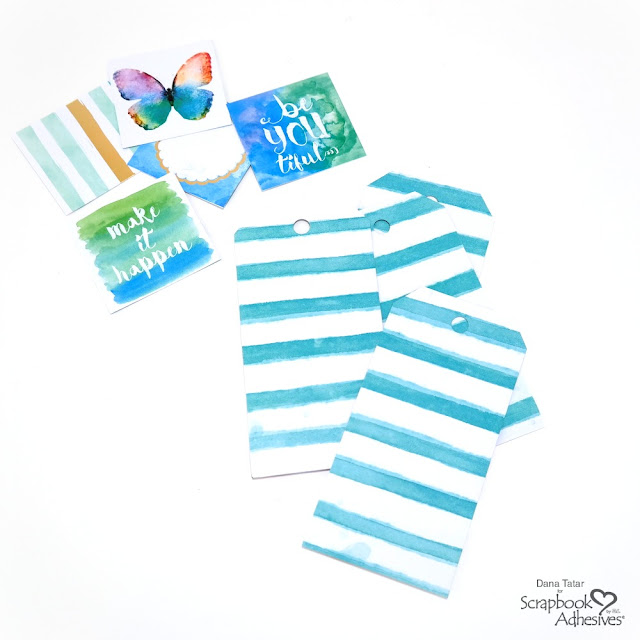 Blue Striped Patterned Paper Die-Cut Tags