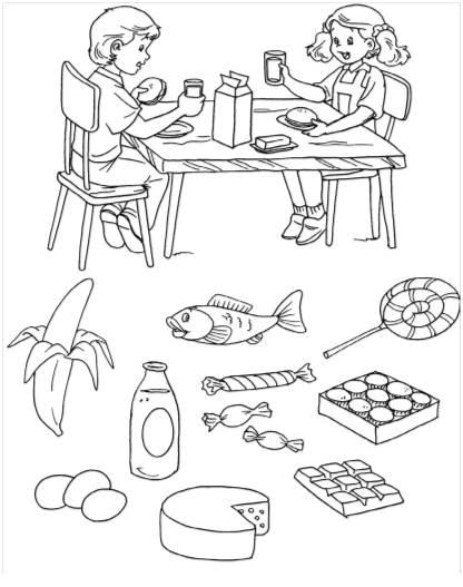 Dibujos Para Colorear De Alimentos Saludables Y Alimentos No