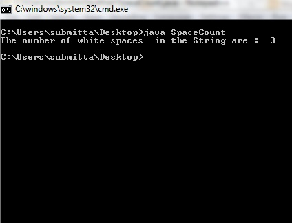 Count number of White Spaces in the String : Java Program
