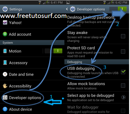 Activer Le debogage usb android