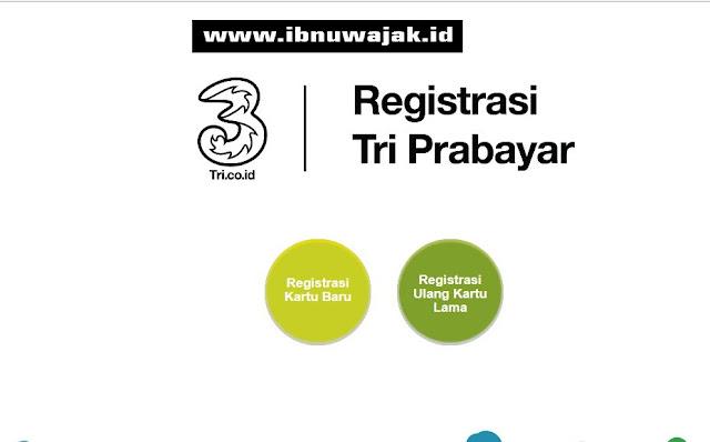 Menu registrasi kartu prabayar tri pelanggan baru atau lama