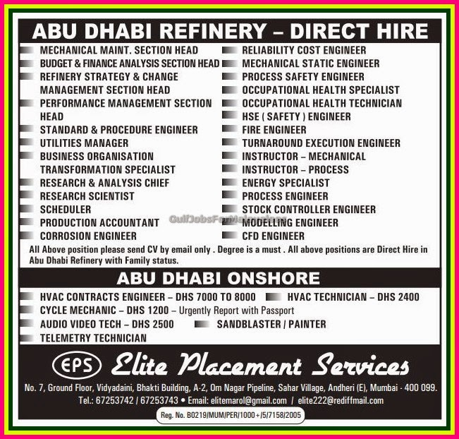 abudhabi refinery and onshore job vacancies gulf jobs for malayalees. Black Bedroom Furniture Sets. Home Design Ideas