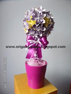 z papieru, kwiaty, kusudama, origami