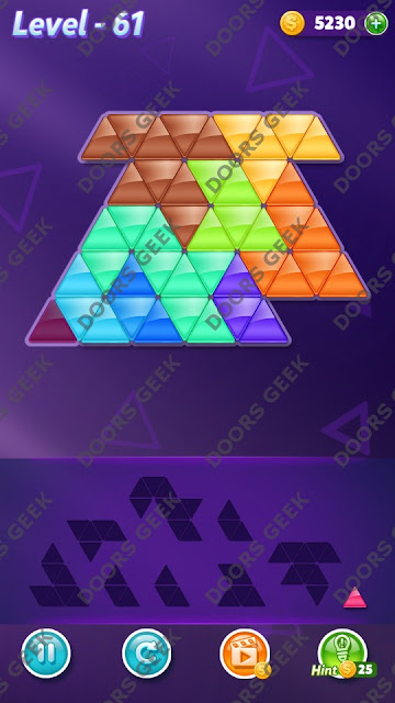 Block! Triangle Puzzle 9 Mania Level 61 Solution, Cheats, Walkthrough for Android, iPhone, iPad and iPod