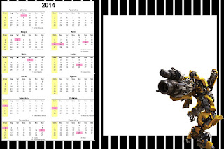 Calendario 2014 para imprimir gratis de Transformers.