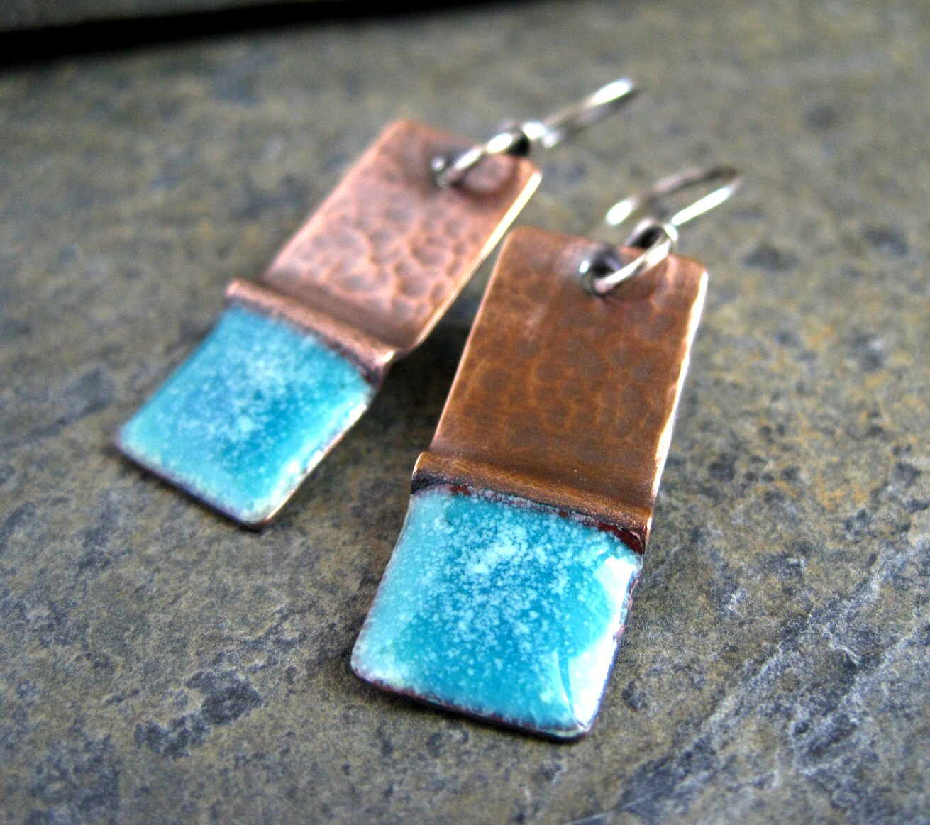Hand Crafted Enamel House Necklace Pendant Copper Home: New Fold Form And Torch Enamel Earrings