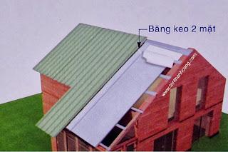 Miêu tả cách cố định mái tôn trên lớp mút cách nhiệt PE OPP 1 mặt bạc