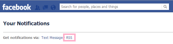 facebook notification through rss  and sms