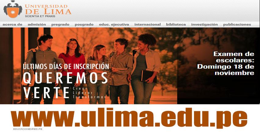 ULIMA: Resultados Examen de Escolares 2019-1 (Domingo 18 Noviembre) Examen Admisión Universidad de Lima - www.ulima.edu.pe
