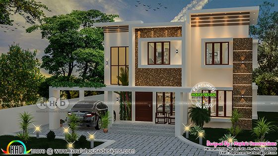 Flat roof style Kerala home design