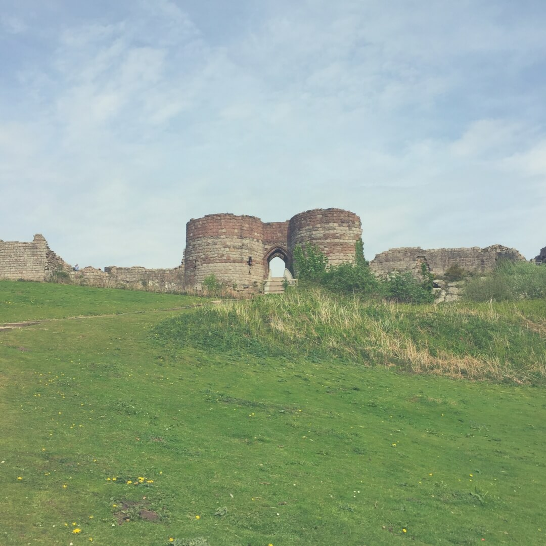 Beeston Castle ruins in the sun.