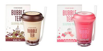 Etude House - Bubble Tea Sleeping Pack. Crema viso per la notte di due tipi: Black tea: migliora l'elasticità della pelle. Strawberry: adatta alle pelli secche.